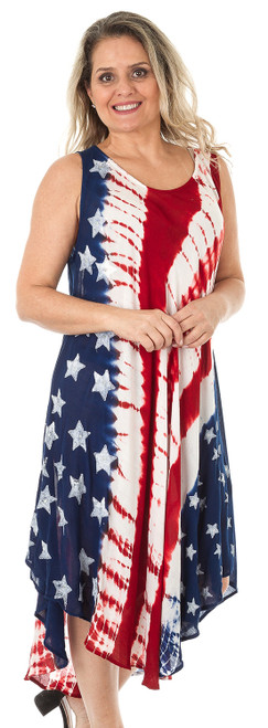 "Flag-Print Tie Dye ""Umbrella"" Crape Dress (One-Size Fits Most) (4072)"