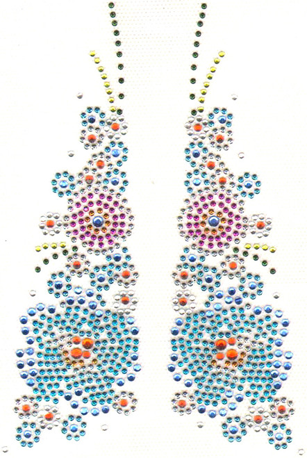 """""""Colorful Floral Collar Decor"""" Iron-On Design (S5882)."""