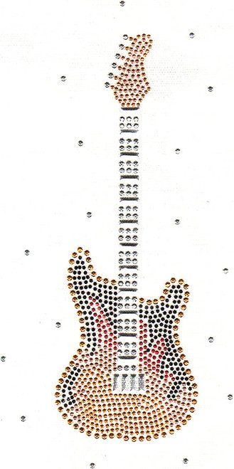 """Large Golden Guitar with Silver Frets"" Iron-On Design (S1618-SIL)."