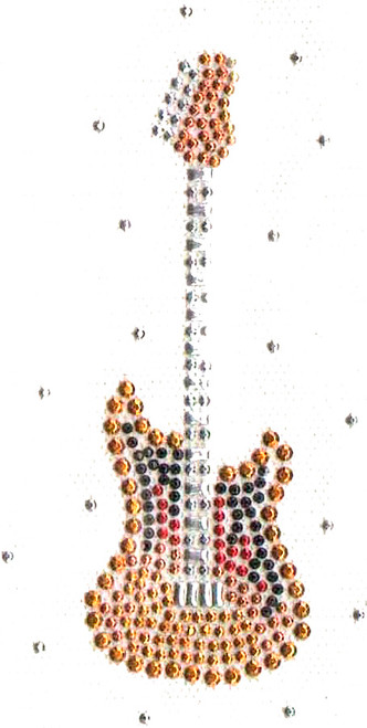 """Small Golden Guitar with Silver Frets"" Iron-On Design (S1618S-SIL)."