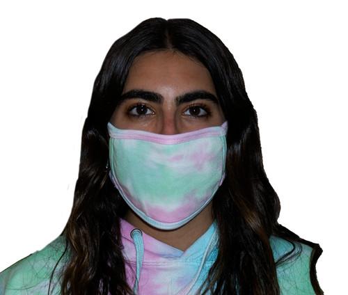 Pastel Rainbow Tie-Dye Oval Fashion Mask