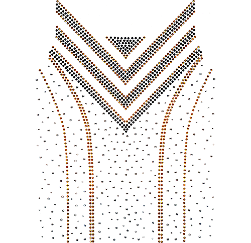 Black & Gold Scoop-Neck & Chest Design (S102016)