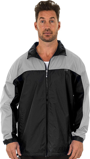 Windbreaker with Hoodie for Men shown in Black/Gray.