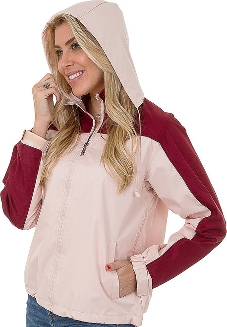 Windbreaker with Hoodie for Women in Blush/Burgundy.