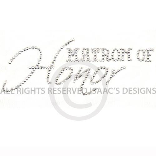 Wedding Matron of Honor Bridal Party Rhinestone Iron On Design