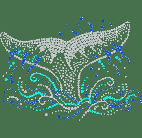 Whale Fluke in Ocean Mist Iron On Design