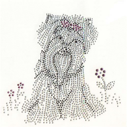 Yorkie Yorkshire Terrier with Pink Bow and Flowers Iron On Design