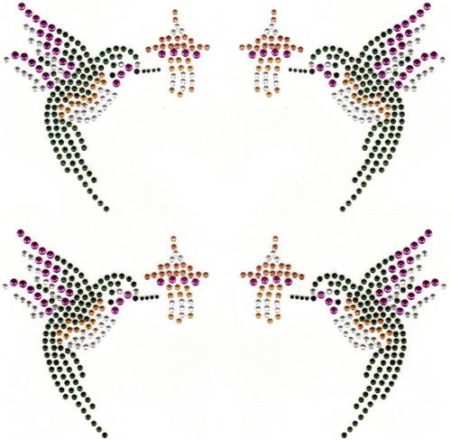 Hummingbird 2-Pair Set Iron-On Design (S9119).