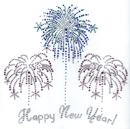 Happy New Year Phrase with Purple and  Blue Firework Bursts