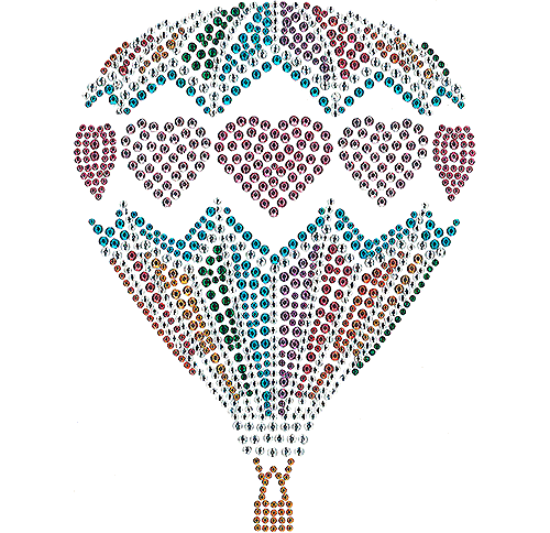 Hot Air Balloon Hearts Iron On Design