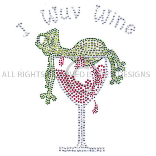 I Luv Wuv Wine Green Frog and Red Wine Glass Iron On Design