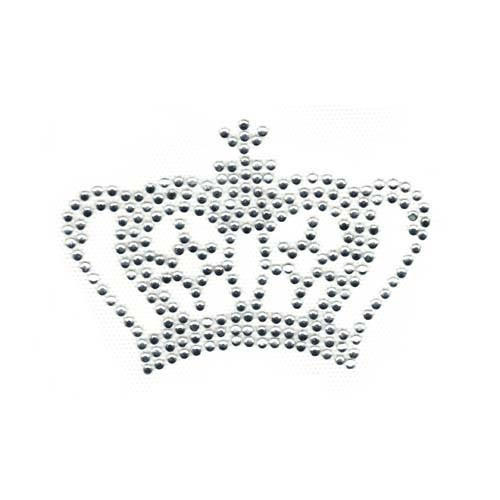 Royal Crystal Crown Tiara with Round Accents and Cross Rhinestone Iron On Design
