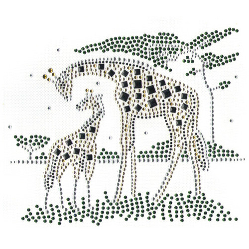 Safari Giraffe Family Mommy and Baby Iron On Design