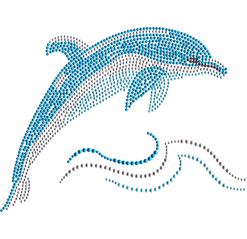 Single Dolphin Jumping over Ocean Waves Iron On Design