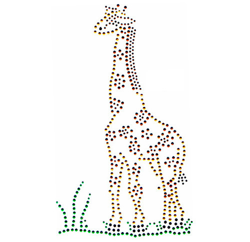 Single Standing Giraffe with Grass Iron On Design