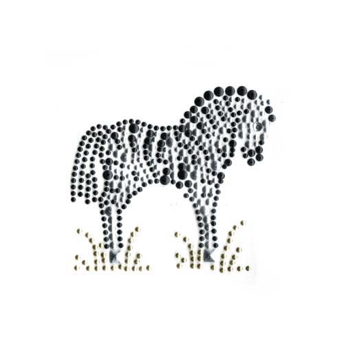 Single Standing Zebra in Grass Iron On Design