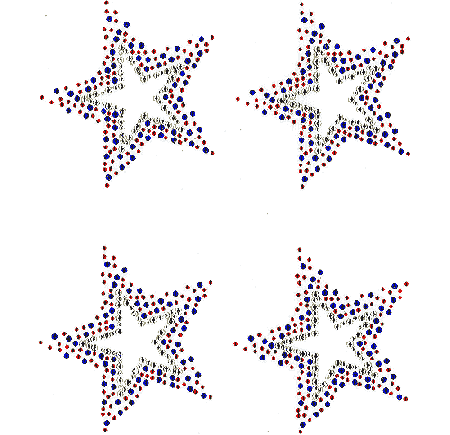 Star Single Burst Patriotic USA Blue and Red Small Iron On Design - Set of 4