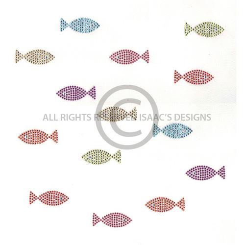 Swimming School of Colorful Mini Fish Iron On Design