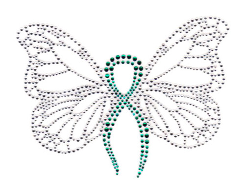 Teal Awareness Ribbon Butterfly Wings Iron On Design