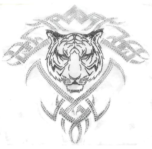 Tribal Tattoo Tiger Face Headshot Iron On Design
