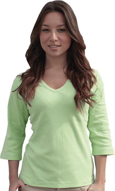 3/4-Sleeve V-Neck Top Plain Lime