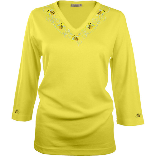 "Our Yellow 3/4-Sleeve V-Neck Top, beautifully embellished with our exclusive ""Bumblebee Set"", which includes a V-Neckline design and a single Bumblebee on each cuff. Blend: 60% combed Cotton / 40% Polyester."