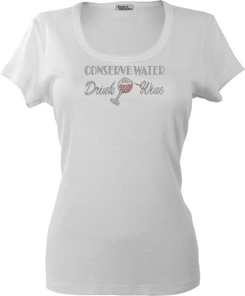 """Conserve Water, Drink Wine"" motif shown on White K109."