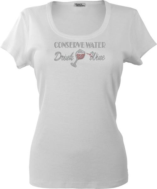 """Conserve Water, Drink Wine"" motif shown on White K109."