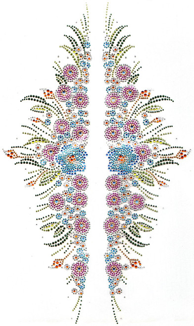 """""""Colorful Floral Left & Right Decor"""" Iron-On Design (S5859)."""