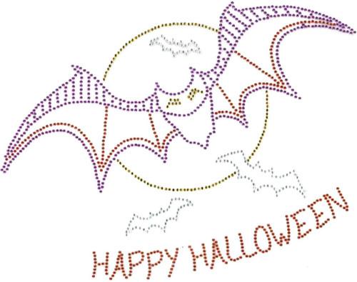 Spooky Bats & Moon Iron-On Design (S102425).