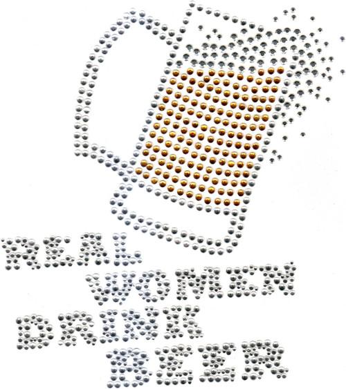 """Real Women Drink Beer"" phrase, with Beer mug (S4966)"