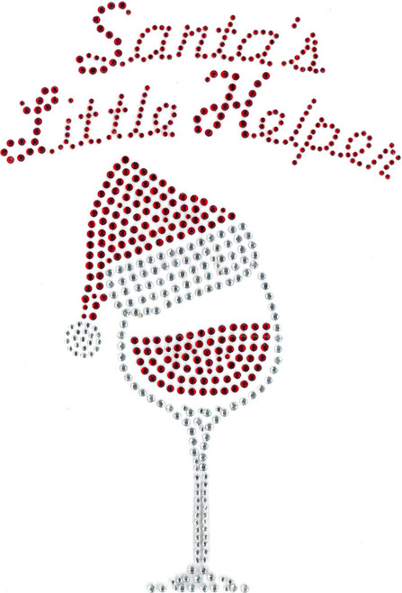 """Santa's Little Helper"" Wine Glass with Hat."