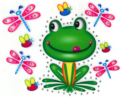 Happy Frog surrounded by Dragonflies & Bugs.