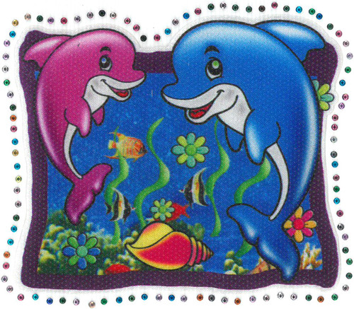 applique, iron on, transfer, satin, stud, sublimation, dolphin, fish, sea, underwater