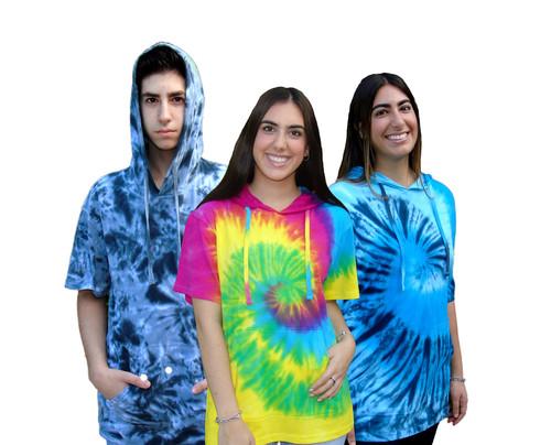 Multi Tie-Dye Short Sleeve Unisex Pullover Hoodie (7045)