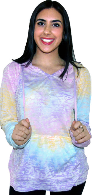 Tie-Dye Burnout Pullover Hoodie (7048)