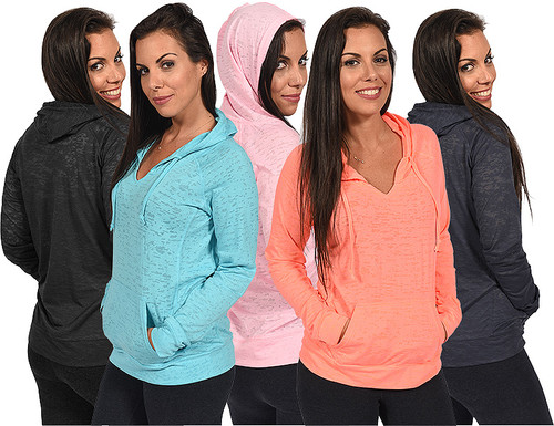 """""""Full-Cut"""" Burnout Pullover Hoodie, shown here (Left to Right): Jet Black, Aqua, Pink, Neon Orange & Navy."""