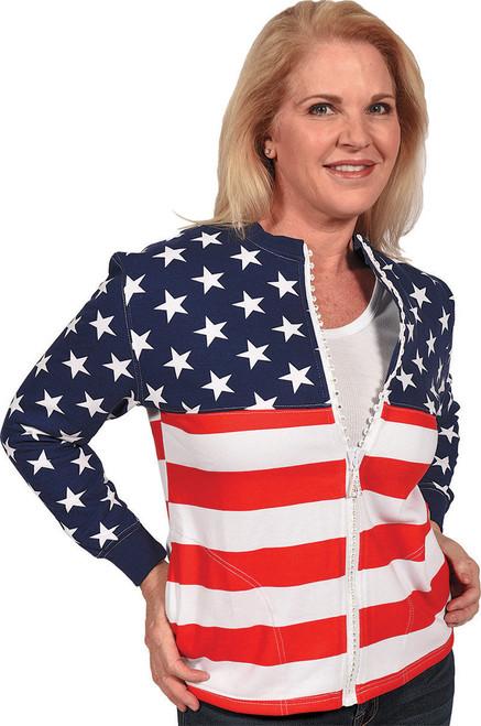 "Red, White & Blue ""USA-Print"" Crew-Neck Crystal Zipper Cardigan w/ Pockets (SW1004-USA)"