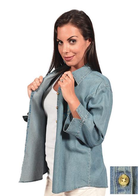 3/4-Sleeve Denim Button-Down Shirt w/o Pocket (D5003)