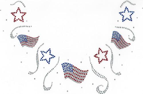 Stars and Flags Scoop Neckline Design (S102313)