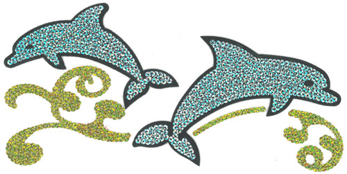 Sequins Dolphin Pair w/ Swirls Iron-On (MM-0331)
