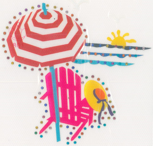 Beach Chair & Umbrella Beach Scene Iron-On (MM-1030)