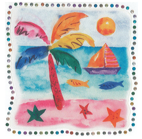 Palm Tree, Sailboat and Fish Scene Iron-On (MM-0978)