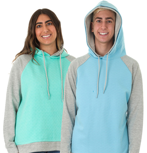 2-Tone Raglan Double-Lined Embossed Unisex Hoodie w/Side-Slit Pockets (Plain)