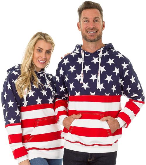 USA Bright-Print Unisex Pullover Hoodie (4017-USA-BRT)