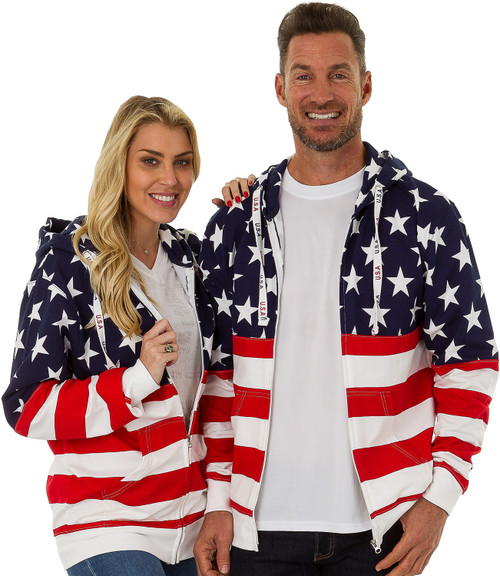 USA Bright-Print Unisex Full-Zipper Hoodie (4022-USA-BRT)