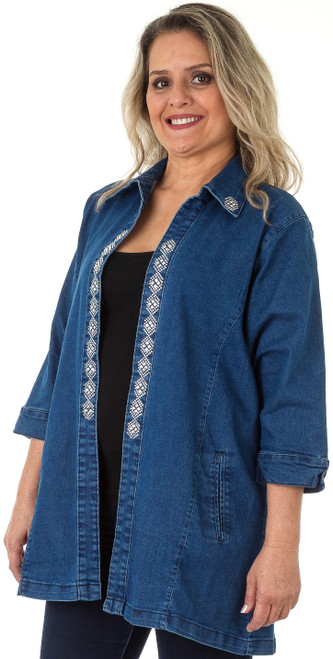 "Traveler Denim Jacket, embellished with ""S9088-DIAMOND"" stripe design (sold separately)."