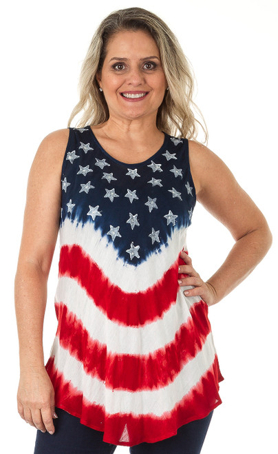 Flag-Print Tie-Dye Sleeveless Rayon Top - Style A.
