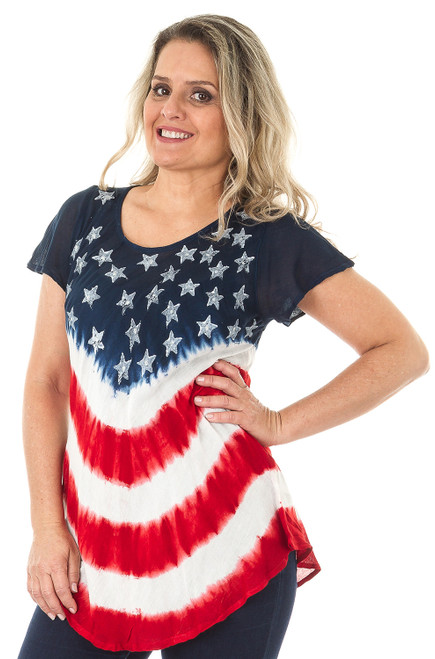 Flag-Print Tie-Dye Cap-Sleeve Rayon Top - Style A.