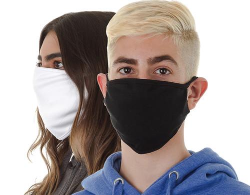 Oval Fashion Mask II (plain), White (worn by her) & Black (worn by him) shown.